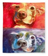 Hot Dog Chilly Dog Study Fleece Blanket