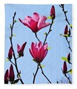 Hot Pink Magnolias Fleece Blanket