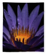 Hot Purple Water Lily Fleece Blanket