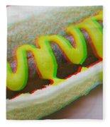 Hotdog - Use Red-cyan 3d Glasses Fleece Blanket