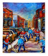 Hotel De Ville Montreal Hockey Street Scene Fleece Blanket