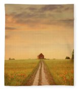 House At The End Of A Track In A Poppy Field Fleece Blanket