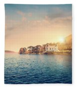 House By A Lake At Sunset Fleece Blanket