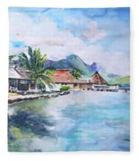 House By The Lagoon In French Polynesia Fleece Blanket