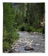 House By The Stream In Vail 1 Fleece Blanket