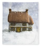 House In Snow Fleece Blanket