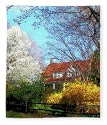 House On The Hill In Spring Fleece Blanket