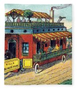 House On Wheels, 1900s French Postcard Fleece Blanket