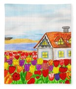 House With Tulips  In Holland Painting Fleece Blanket
