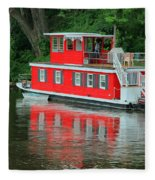 Houseboat On The Mississippi River Fleece Blanket
