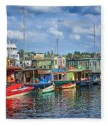 Houseboats - 3 - Lake Union - Seattle Fleece Blanket