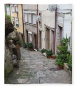 Houses Along Alley In The Old Town Of Porto Fleece Blanket