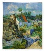 Houses In Auvers Fleece Blanket
