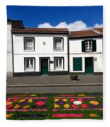 Houses In The Azores Fleece Blanket