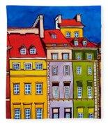 Houses In The Oldtown Of Warsaw Fleece Blanket