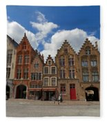 Houses Of Jan Van Eyck Square In Bruges Belgium Fleece Blanket