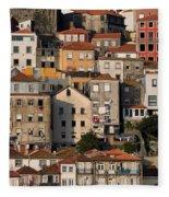 Houses Of Porto In Portugal Fleece Blanket