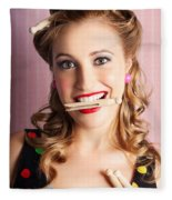 Housewife Doing Cleaning And Pin-up Laundry Chores Fleece Blanket