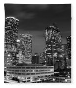 Houston By Night In Black And White Fleece Blanket