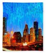Houston Skyline 110 - Pa Fleece Blanket