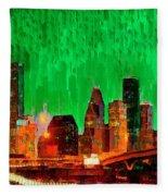 Houston Skyline 112 - Pa Fleece Blanket