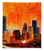 Houston Skyline 116 - Pa Fleece Blanket