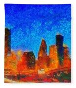 Houston Skyline 130 - Pa Fleece Blanket