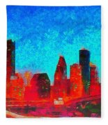 Houston Skyline 131 - Pa Fleece Blanket