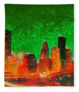 Houston Skyline 133 - Pa Fleece Blanket