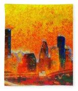 Houston Skyline 135 - Pa Fleece Blanket