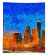 Houston Skyline 40 - Pa Fleece Blanket