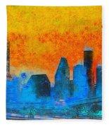 Houston Skyline 41 - Pa Fleece Blanket