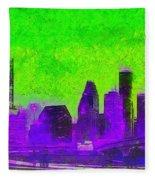 Houston Skyline 43 - Pa Fleece Blanket