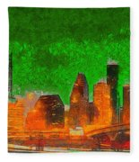 Houston Skyline 48 - Pa Fleece Blanket