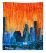 Houston Skyline 81 - Pa Fleece Blanket