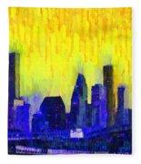 Houston Skyline 83 - Pa Fleece Blanket
