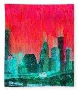 Houston Skyline 91 - Pa Fleece Blanket
