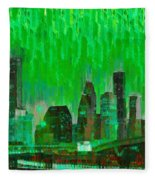 Houston Skyline 96 - Pa Fleece Blanket