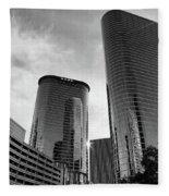 Houston Skyscrapers Black And White Fleece Blanket