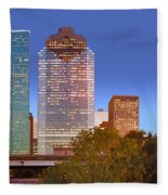 Houston Texas Skyline At Dusk Fleece Blanket