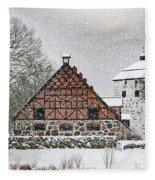 Hovdala Castle Gatehouse And Stables In Winter Fleece Blanket