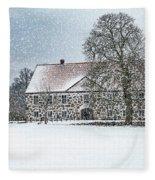 Hovdala Castle Main House In Winter Fleece Blanket