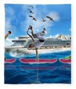 Hoverboarding Across The Atlantic Ocean Fleece Blanket
