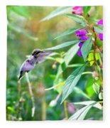 Hovering Hummingbird Fleece Blanket