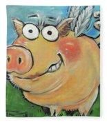 Hovering Pig Fleece Blanket