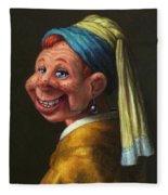 Howdy With A Pearl Earring Fleece Blanket