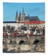 Hradcany - Cathedral Of St Vitus And Charles Bridge Fleece Blanket