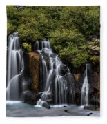 Hraunfossar In The Gloom Fleece Blanket