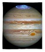 Hubble Captures Vivid Auroras In Jupiter's Atmosphere Fleece Blanket