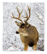 Huge Buck Deer In The Snowy Woods Fleece Blanket